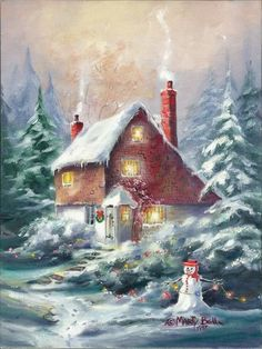 Storybook House And Jolly Snowman. Perfect For Those Who Still Believe In Their Dreams ~ A Snowy WinterLand ~ Marty Bell. Christmas Scenes, Vintage Christmas Cards, Christmas Bells, Christmas Pictures, Winter Christmas, Christmas Time, Christmas Crafts, Illustration Noel, Christmas Illustration
