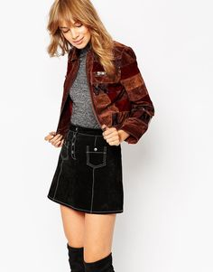 Image 1 of ASOS Jacket in Patchwork Leather