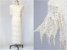 cream lace dress / 20s deco style dress / by dustyrosevintage, $60.00
