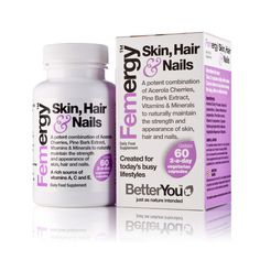 BetterYou - Femergy Skin, Hair and Nails. A natural antioxidant formulation designed to help protect and repair vital tissue from the effects of pollutants, UV exposure, exercise and general modern lifestyle stress. www.shopzoelife.com
