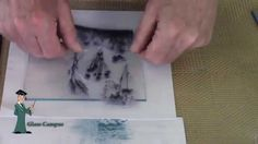 Demonstration of using glue and stamps to apply mica powder to fused glass. Part 2
