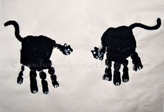 Handprint Black Cats for #halloween