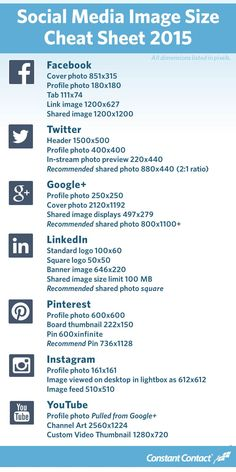 [Infographic] 2015 #SocialMedia Image Size Cheat Sheet with recommended sizes!