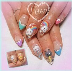 all hand painted Kawaii weather ? all hand painted Kawaii Nail Art, Cute Nail Art, Cute Nails, Pretty Nails, Korean Nail Art, Asian Nail Art, Painted Nail Art, Hand Painted, Nails For Kids