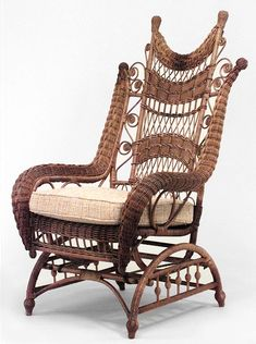 American Victorian natural wicker ornate high back platform rocking chair with woven rolled arms and finials on back (HEYWOOD BROS. Wicker Patio Furniture, Wicker Chairs, Furniture Decor, Desk Chairs, Rocking Chairs For Sale, Clear Dining Chairs, Wicker Rocker, Wicker Bedroom, Diy Chair