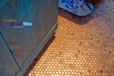 Alpentile Glass Tile Swimming Pools: Have you considered copper penny tiles for your next project? Penny Boden, Penny Tile Floors, Copper Penny, Stick On Tiles, Blue And Copper, Flooring Options, Swimming Pools, Projects, Posts
