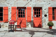Orange Doors and Shutters, Rochechouart, Limousin, France
