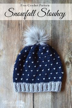 FREE Crochet Pattern: Crochet Snowfall Slouchy Hat | Make this lovely hat with beautiful snowfall detail that looks like knit! Perfect for wintertime.