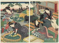 Original Kunisada II (1823 - 1880)  Beauties Raising Silkworms, 1856. $351.  Scene showing beauties at work raising silkworms. At right, a woman uses a feather to brush the eggs from a sheet of paper onto a tray. The beauty beside her carefully arranges the silk cocoons in two wooden trays. At left, a woman chops mulberry leaves into a shallow wooden tub, the beauty behind her carrying a wicker tray filled with leaves and cocoons. Wonderful detail and attractive color in this interesting…