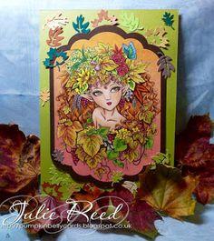 "By Showcase DT member, Julie Reed, with ""Harvest Elf"" digi for Aurora Wings Showcase Blog"