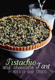 Pistachio-Chocolate Tart with Potato Chip Crust | 10th Kitchen