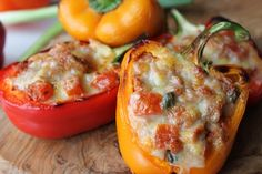Tuna Stuffed Peppers. Tuna Stuffed Peppers    Makes: 4 pieces  Takes: 10 minutes    Ingredients:  -2 bell peppers (colour of your choice)  -1 tin tuna chunks in brine/spring water (130g drained)  -60g grated cheddar cheese   -30g tomato puree (double concentrate)  -1 spring onion/scallion (finely chopped)  -10g capers  -1 tomato (de-seeded and diced)