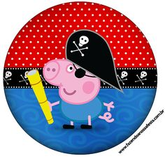 Rótulo Latinhas, Toppers e Tubetes George Pig Pirata (Peppa Pig):
