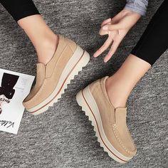 c0c58ac433 Breathable Women Suede Platform Shoes Slip On Loafers - PopJulia.com