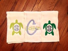 Personalized Turtle Monogram Burpcloth Set/Set of 3/baby gift/shower gift/boy or girl/turtles  on Etsy, $28.00