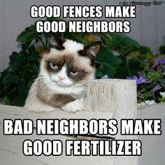 Good fences make good neighbors. Bad neighbors make good fertilizer. Grumpy cat