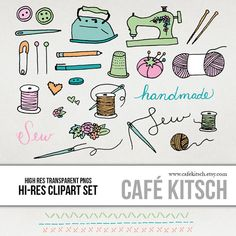 INSTANT DOWNLOAD  Sewing Clipart Set  Hi Res by PepperStudio