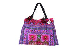 Purple Flowers Tote Bag Garden Hill Tribe Thailand Fair Trade Handmade Pom Pom (BG121-PUF)