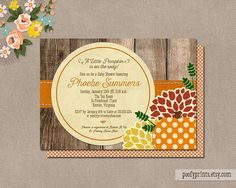 Little Pumpkin Baby Shower Invitations  DIY by PoofyPrints on Etsy