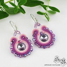 Mini Earrings Soutache, violet/pink, Soutache earrings, small earrings