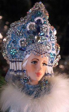 A Russian doll in a traditional kokoshnik headdress.
