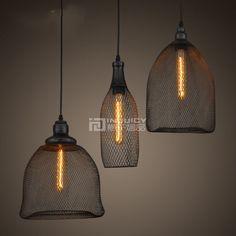 Loft Edison Retro LED Iron Reticular Ceiling Light  Droplight Fixtures Chandeliers Bar Loft Aisle Cafe Store Decor