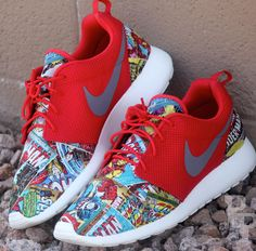 """This is a custom pair of """"Marvel Comics"""" Roshe Runs.  Each pair will have different characters or images than the other so none are exactly the same!  Each Custom is hand stitched and crafted for individual pairs.   Very Limited Release  No International Shipping Available for this release..."""