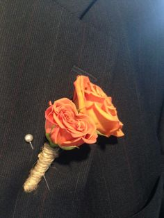 rustic orange spray rose with twine boutonniere