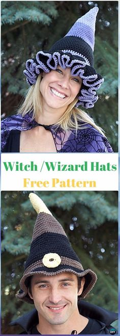 10 Crochet Halloween Hat Free Patterns via @diyhowto | Crochet and ...