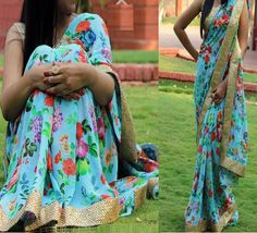 Georgette+Lace+Work+Blue+Floral+Print+Saree+-+KT3073 at Rs 1299