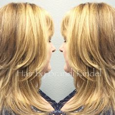It was my pleasure to spend the evening at the salon with Kim.  We broke up her color with some warm lowlights and added some vibrancy with beautiful highlights in addition to touching up her base and reshaping her cut  to allow for more natural movement  I hope you live it as much as I do Kim!!!