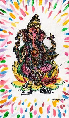Ganesh Tattoo, Shri Ganesh, Lord Ganesha, Om Gam Ganapataye Namaha, Commercial Art, Yoga Art, Visionary Art, Spirituality, Spiritual Enlightenment