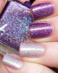 Femme Fatale - Paragon | COTM July 2016 | July 1-2, 2016 | A stunning rich purple> clear (or lavender, depending on temp) thermal with glimmering golden sparks and scattered holo. Very blingy and fun!