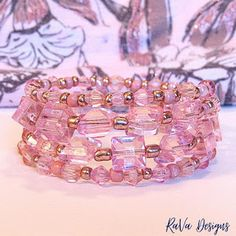 handmade stacked rose gold bracelet memory wire jewelry layered pink beads Memory Wire Jewelry, Wooden Jewelry, Diy Bracelet Storage, Bracelet Making, Jewelry Making, Jewelry Rack, Layered Jewelry, Handmade Wooden, Rose Gold