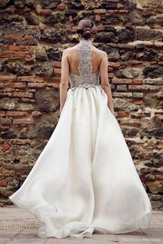flowy wedding dress with a grey crochet lace racerback