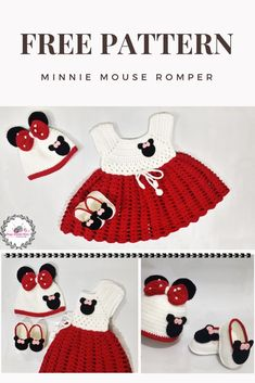FREE pattern minnie mouse dress + hat + slippers - Everything For Babies Crochet Baby Dress Free Pattern, Baby Dress Patterns, Baby Clothes Patterns, Baby Girl Crochet, Crochet Baby Clothes, Crochet For Kids, Crochet Baby Outfits, Crochet Patterns, Crochet Costumes