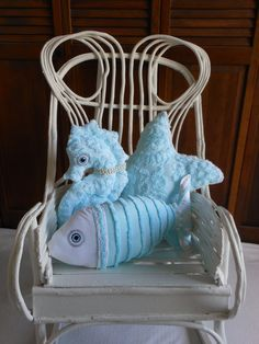 Chenille Fish Turquoise and White Pillow Under the Sea for Coastal Living by searchnrescue2. $55.00, via Etsy.