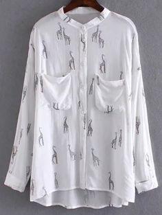 Giraffe Print White Shirt