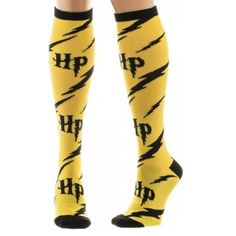 This is a pair of Harry Potter Yellow And Black Knee High Socks. Harry Potter themed socks are always a good idea and just plain awesome. Show your Harry Potter love and see who notices! Good price to