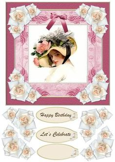 Lady Jardine on Craftsuprint designed by Sharon Vieira - Lady Jardine Card Front is approx 7x7 inch. It has a vintage style portrait , pretty frame and rose accents . It comes with rose decoupage and 3 banners : Happy Birthday , Let's Celebrate and one blank for the greeting of your choice.There is a matching insert available also . - Now available for download!