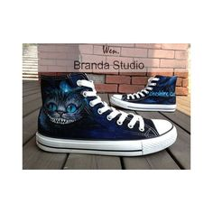 Alice In Wonderland-Cheshire Cat-Studio Hand Painted Shoes 55Usd,Paint... ❤ liked on Polyvore featuring shoes, converse shoes, cat shoes, cat print shoes, converse footwear and cat footwear