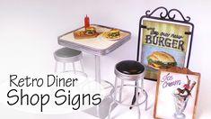Miniature Retro Diner; Shop Signs Tutorial