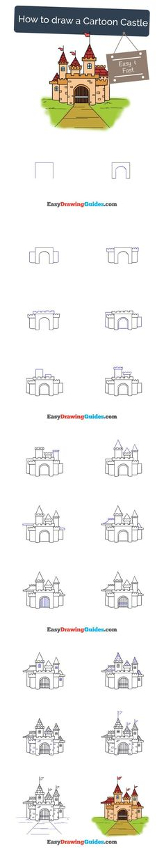 Learn How to Draw a Castle: Easy Step-by-Step Drawing Tutorial for Kids and Beginners. #castle #cartoon #drawing #tutorial. See the full tutorial at https://easydrawingguides.com/how-to-draw-a-cartoon-castle/