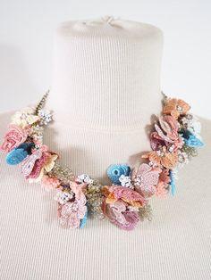 Oya shop on Etsy. Beautiful turkish lace crochet necklace.