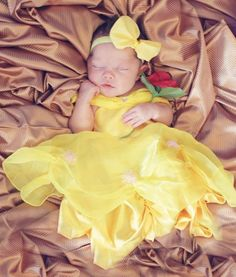 Baby belle! How adorable to do a newborn photography session of your baby girl as beauty and the beast!