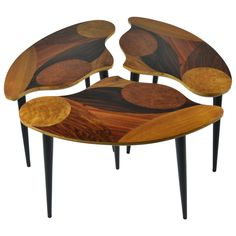 Swedish Modern Three-Part Cocktail Table with Specimen Wood Tops   From a unique collection of antique and modern coffee and cocktail tables at https://www.1stdibs.com/furniture/tables/coffee-tables-cocktail-tables/