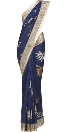 Indigo Chanderi sari with Lotus Buttas by ROHIT BAL. Shop at https://www.perniaspopupshop.com/designers-1/rohit-bal/rohit-bal-3
