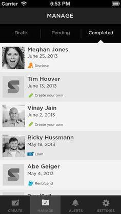tabs onShake App (list)