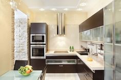 Double wall oven kitchen design modern small kitchen design with dark cabinetry light and double wall Small Modern Kitchens, Dark Wood Kitchens, Modern Kitchen Interiors, Contemporary Kitchen Design, Modern Interior, Kitchen Furniture, Kitchen Decor, Space Kitchen, Kitchen Designs Photos