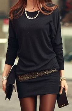 Love this Dress Design! Black and Gold Simple Lines Scoop Neck Long Sleeve Sequin Embellished Packet Cotton Blend Bodycon Dress Fashion #LBD #Sexy #BodyCon #Black #Gold #Dress #Date #Night #Fashion